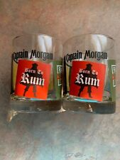 Captain Morgan Rum Rock Graphic Set of 2 Barware Drinking Glass 12 oz