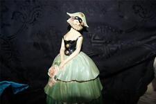 Ultra Rare Terre de Retz France Art Deco Powder Puff Doll Box Jar Mask compact