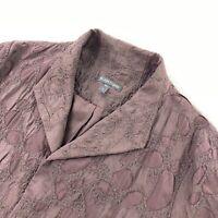 Eileen Fisher Women's Textured 3/4 Sleeve Open Front Silk Jacket Brown • Small