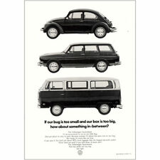 1971 Volkswagen: Bug Is Too Small Box Is Too Big Vintage Print Ad