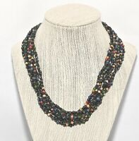 "Vintage 8 Multi Strand Black & Multi-Color Beaded Necklace Estate Jewelry 18"""