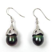10-11mm Baroque Tahitian Black Pearl 925 Sterling Silver Dangle Hook Earrings