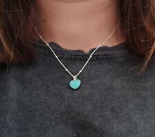 Collar mujer con colgante corazon turquesa en plata de ley 925