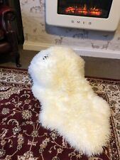 GENUINE RARE Curly IVORY sheepskin rug ECO pelt STUNNING CURLY Fur
