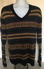POLO RALPH LAUREN Fair Isle Hand Knit Linen Cotton & Cashmere V-Neck Sweater M