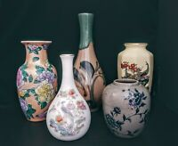 Lot Of 5 Vintage Floral Painted Ceramic Porcelain Bud Vases Japan China England