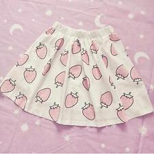 Japan Harajuku Style Lolita Girls Summer Dress Strawberry Pattern Skirt One Size