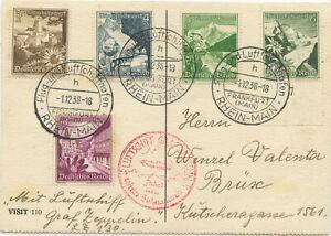 Deutsches Reich Zeppelin Postkarte Sudetenlandfahrt 1938 Brüx