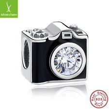 925 Sterling Silver Black Enamel Sentimental Snapshot Camera Charms Bead Jewelry