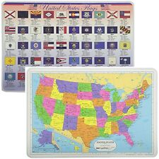 Painless Learning Educational Placemats USA Map And Stats Flags Set Non Slip
