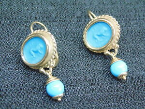 RARE! TAGLIAMONTE ITALY 14K GOLD LION INTAGLIO CARVED TURQUOISE EARRINGS 6.6gm
