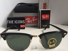 New RayBan Clubmaster Classic 3016 W0365 Black Frame Green Lenses Size 51mm