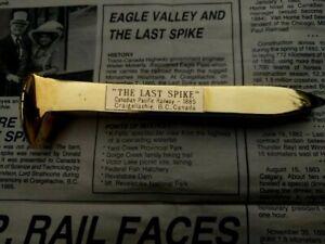 Souvenir of Craigellachie Canadian Pacific Rail Train GOLDEN LAST SPIKE & Paper