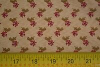 By 1/2 Yd, Red&Olive on Tan Quilting Cotton, Windham/Alexsandra/Mary Koval M8099