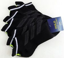 Polo Ralph Lauren Womens Tab Socks 3 Pack 9-11 Black White Lime Athletic Cushion