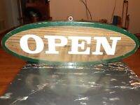 """VINTAGE AGED HANDMADE CARVED WOOD OPEN CLOSED SIGN 18"""" x 6""""OVAL GENERAL STORE"""