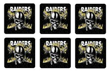 "OAKLAND RAIDERS COASTERS 1/4"" BAR & BEER SET OF 6"