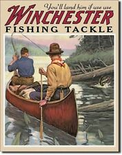 NEW Winchester Fishing Tackle Antique Vintage Outdoors Look Trout Tin Metal Sign