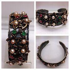 BRACCIALE ARGENTO 835 rigido con perline pietre colorate accessori in