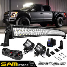 "99-15 Ford F250 F350 Super Duty Upper Roof Mount 54"" Curved LED Light Bar Combo"