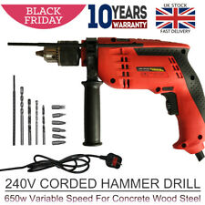 Hammer Drill Powerful Variable Speed Electric Corded Drill 240V 650W 10 Bits Set