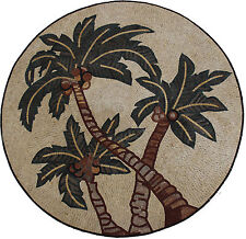 Palm Trees Three Medallion Floor Wall Garden Pool Home Marble Mosaic MD1746