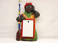 Cast Iron Aunt Jemima Mammy Notepad Holder and Pencil Broom Handle