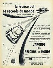 Publicité Advertising 029 1958  Simca Aronde  à Montlhéry  record monde Shell