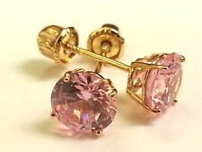 Pink Sapphire Earrings Created Stud Real 14K Yellow Gold 1.00 Ct Round 5mm