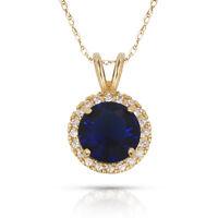 1.50CT Blue Sapphire Round Shape Halo Pendant & Necklace 14K Yellow Gold