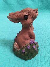 "Vintage 1992 ""Morley Candy� Resin Easter Bunny Figurine W/Purple Flowers"