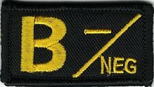 Yellow Black Blood Type B- Negative Patch VELCRO® BRAND Hook Fastener Compatible