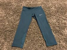 dbe42920f81482 Nike Epic run club running teal green blue leggings spandex 3/4 pants Dri  Fit