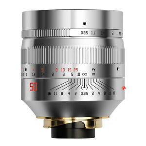 TTartisan 50mm F0.95 Lens Super Aperture for Leica M mount M9 M10 Camera Sliver
