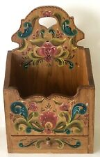 Vintage Norwegian Hand Painted Rosemaling Wall Hanging Cabinet Caddy With Drawer