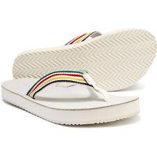 NEW Teva Deckers Hudson's Bay Flip-Flops, White/Rainbow, Women Size 6