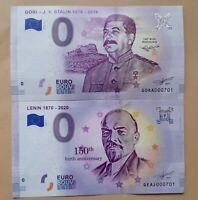 LOT 2x Ticket 0 Euro Souvenir LENIN 150th STALIN 140TH anniversary LOW  Numbers