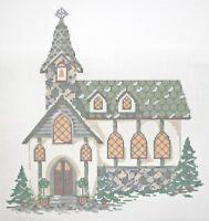 Needlepoint Handpainted KELLY CLARK Christmas Village Old Stone Church + SG