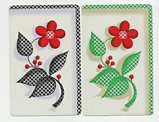 2 X JOKERS FLOWERS SWAP CARD Vintage playing card 1930s pair MINT COND
