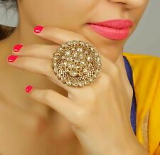 714 Indian Bollywood Gold Tone Adjustable Ring Traditional Women Bridal Jewelry