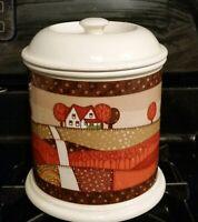 Vintage Otagiri Cookie Jar 1980s Ceramic Fall Folkart Print with Lid Super Rare