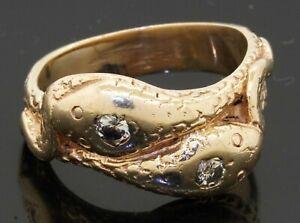 Vintage heavy 14K gold .20CTW diamond double snake ring size 8
