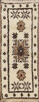 Vintage Tribal Ivory Moroccan Natural Dye Geometric Hand-knotted Area Rug 3x6 ft