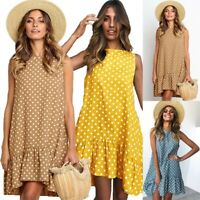 Summer Women Polka Dot Dress Sleeveless O-neck Dress Ruffle Hem Casual LoosC4J4