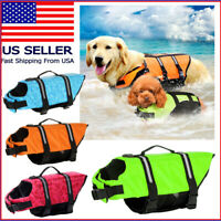 Pet Dog Life Jacket Swimming Durable Safety Vest Reflective Stripe + PULL Handle