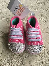 Girls Newborn Pink Swarovski Crystal Embellished Tennis Shoes Baby Gift NWT