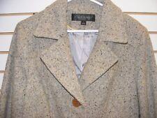 *FLEET STREET* Women's LONG TOP COAT- Warm Wool Blend -GRAY-TWEED- SZ LARGE  NEW