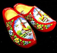 Hand Painted Wood Dutch Holland Shoes Clogs Windmill Carved