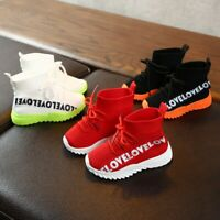 Children Kids Baby Girls Boys New Letter Stretch Run Sneakers Sport Shoes Boots