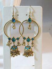 Bollywood style Aqua Blue Rhinestone Gold Dangle Pierced Earrings 8e 29